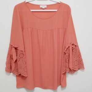 LOFT Blouse Bell Tie Sleeves Size Large